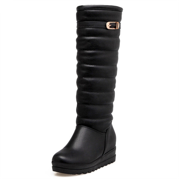 new arrive women boots fashion black white ladies boots buckle simple snow boots elegant knee high Keep warm inside