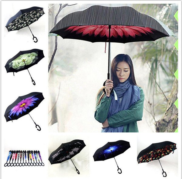 Inverted Umbrella C-Handle Self Standing Inside Out Special Design Double Layer Upside Down Double layer Windproof Umbrella 30deign KKA1162