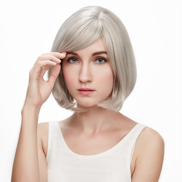 Straight Silver Grey Short Wig With Bangs Fashion Heat Resistant Synthetic Gray Hair Bob Wigs For Black Women Peruca Feminina
