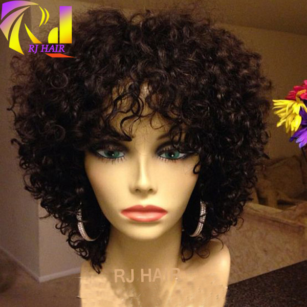 Full Lace Curly Wigs With Bangs For Black Women Glue less Lace Front Loose Curl Wig Free Style Virgin Human Hair Brazilian