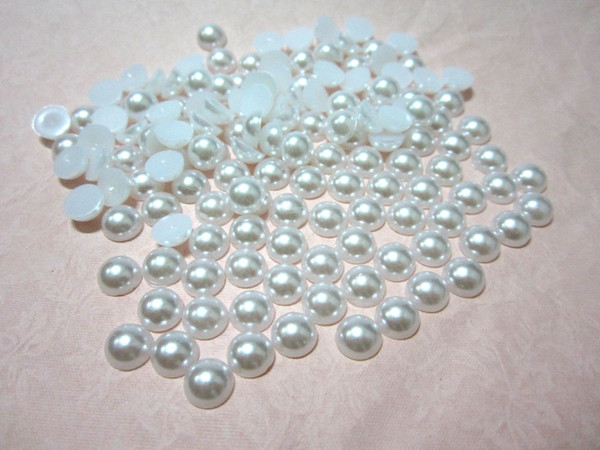 100 pezzi / lotto 8mm BIANCO Mezza plastica Perla Perlina Flat Back Scrapbook / Flatback Beads DIY decorazione di cerimonia nuziale B026