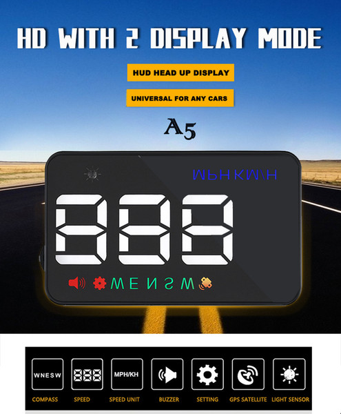 top popular New arrival A5 3.5 inch GPS HUD Head up Display Vehicle alarm security stystem vs OBDII car windshield project driving 2019