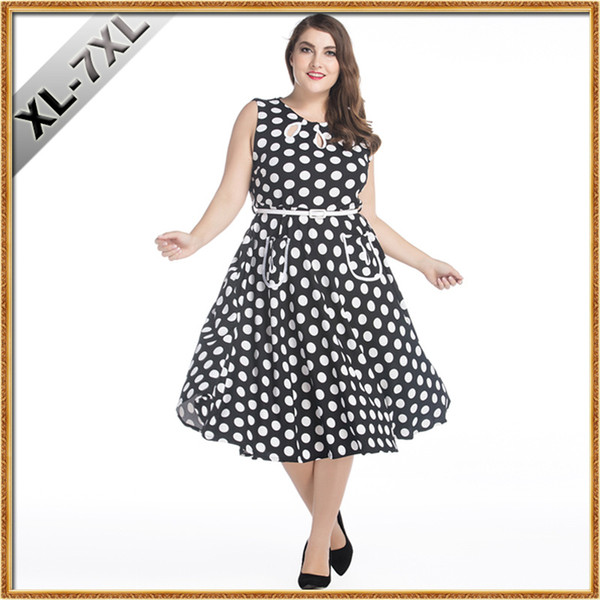 best selling Women Oversize Clothing 7XL Retro Fashion Hepburn Style 50s Vintage Dress Wave Point Plus Size Dress for Fat Women