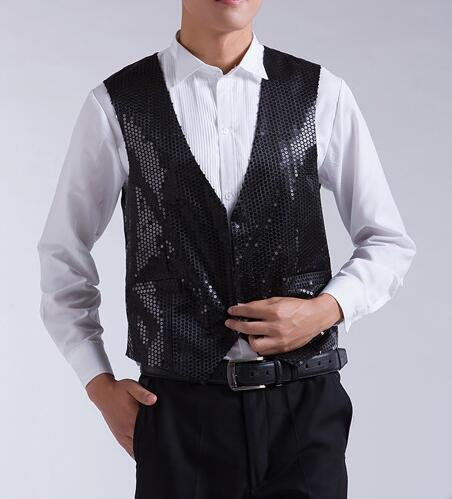 best selling New Mens Fashion Sequins Slim Waistcoat Stage Performances Vest Sleeveless Jacket Stage Show Clothes For Mens 7 Color B520