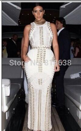 Venta al por mayor- 2017 mujeres del verano atractivo Bodycon negro blanco sin mangas tachonado con cuentas largo maxi rayón vendaje vestido de la celebridad kim kardashian