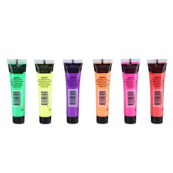 Acheter Set Non Toxique Visage Pailleté Peinture Glow Flash Corps Fluorescent Art Pigment Partie Masquerade Maquillage Art Corps Fluorescent