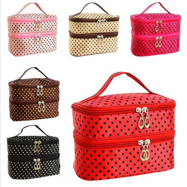 Wholesale- Fashion Double layer small dots cosmetic bag makeup tool storage bag multifunctional Storage package free shipping S385