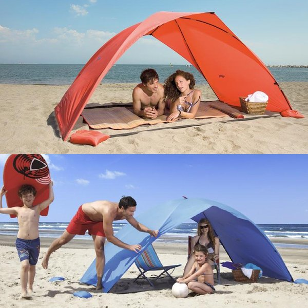 Sun Shelter Tent for Beach Summer Outdoor UV Tarp Sun Shade Strandtent Unlined Camping Fishing Awning Sunshade Beach Tent Canopy