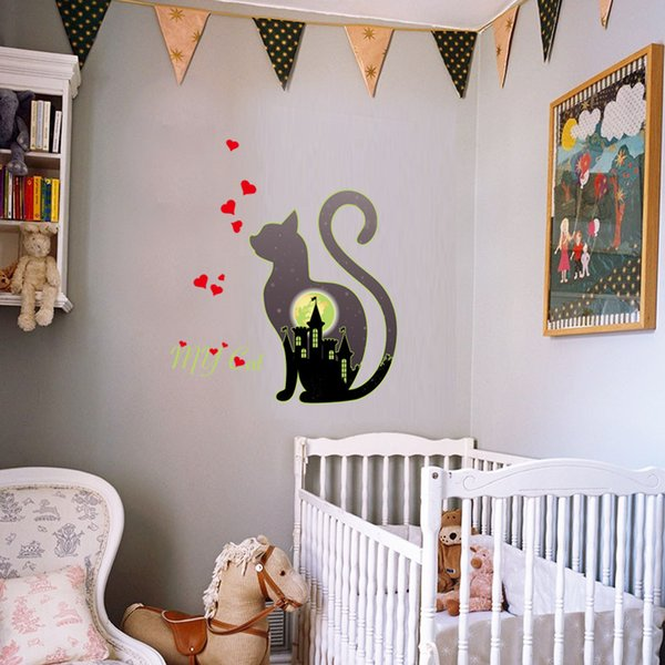 Cat Sweet Heart and Castle Noctilucent Wall Sticker PVC Animal Wall Decorative Decal for Bedroom and Kids Room Removable