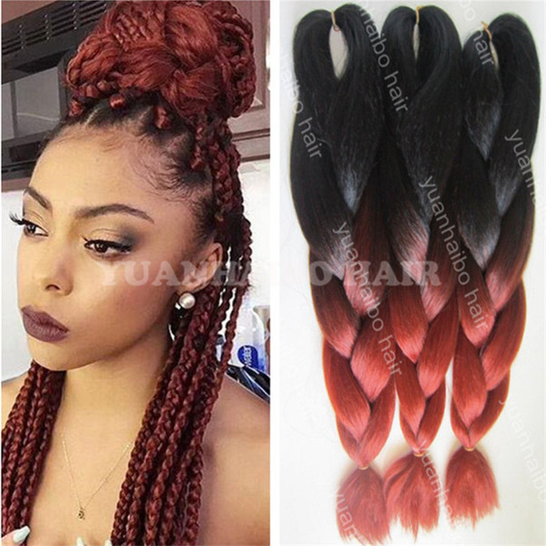 Hot sale 20inch two tone synthetic jumbo braid kinky ombre braiding hair for women free shipping
