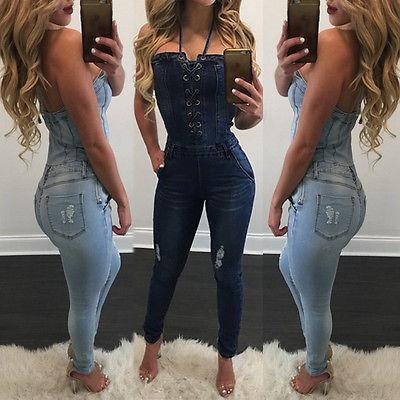 Toptan-2017 yeni bandaj moda mavi Womens Yıkanmış Kot Kot Rahat Delik Tulum Romper Genel Pantolon