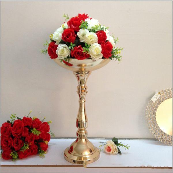 Acheter Support De Fleur Doré Hauteur 52 Cm Centre De Table De Mariage événement Fête Fleur Route Conduire à La Maison Vase Décoration 1 10 P De