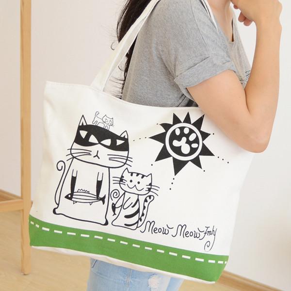 Wholesale- Brand New Women Canvas Shopping Bag Casual Beach Handbags Foldable Zipper Sac A Main Cartoon Cat Single Shoulder Bolsas Feminina