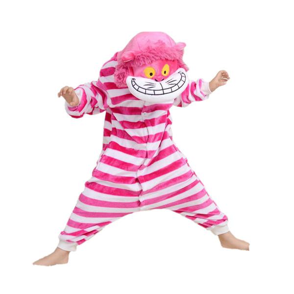 novedad niños lindos pijamas de una pieza gato lindo rosa a rayas ropa de dormir para 3-10 años niños niñas pijamas onesie niñas ropa de noche