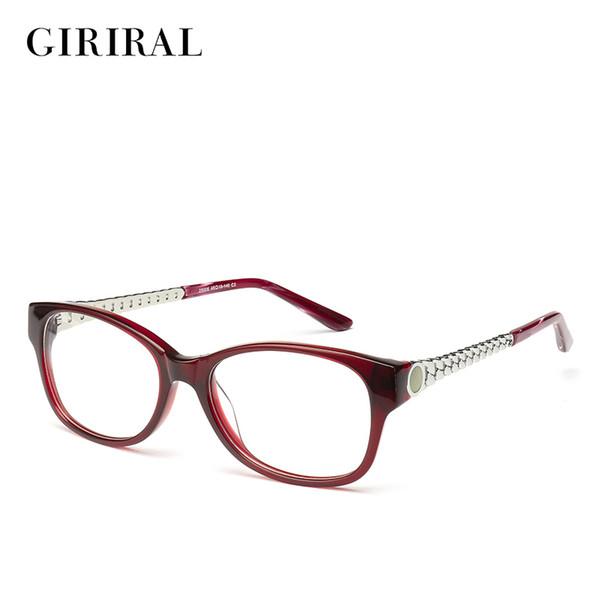 Toptan- kadın asetat gözlük çerçevesi yuvarlak tasarımcı miyopi marka optik net gözlük çerçevesi # 1-29006