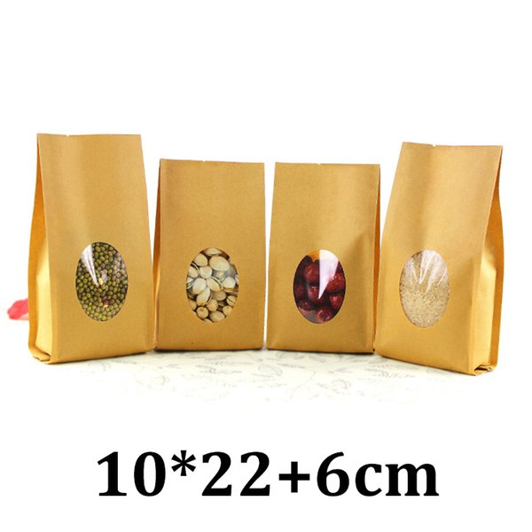 10cm 22cm food grade packaging with round window brown kraft quad seal paper bag