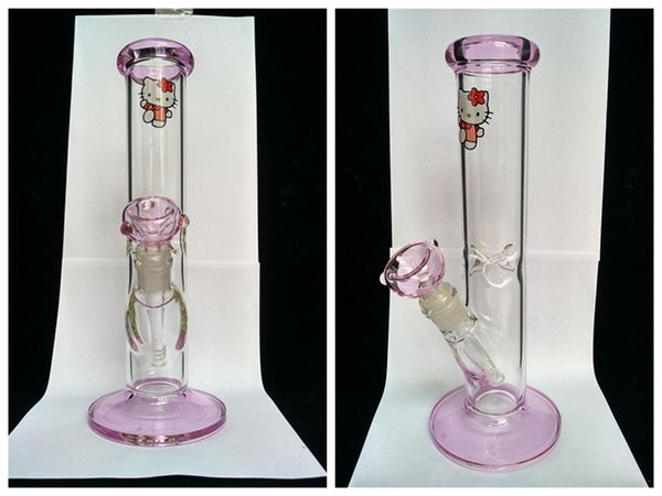 2017 Lovely carton Kitty cat glass bongs color pink glass dab rigs smoking water pipe straight Recycle downstem tube per coil rig 14mm joint