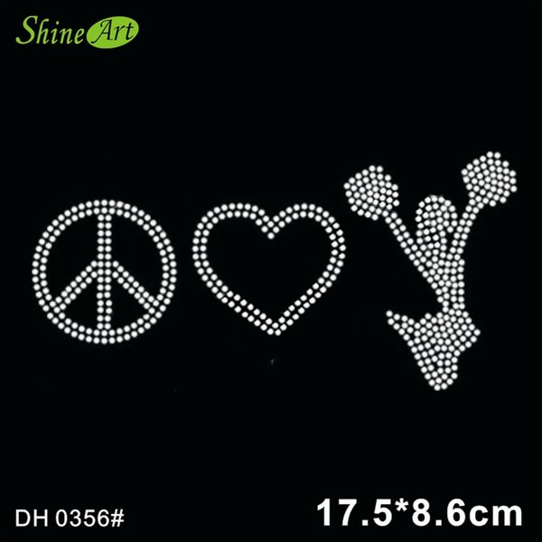 Free shipping Peace, heart and cheer rhinestone iron on crystal transfers, crystal bling transfer design DIY DH0356#