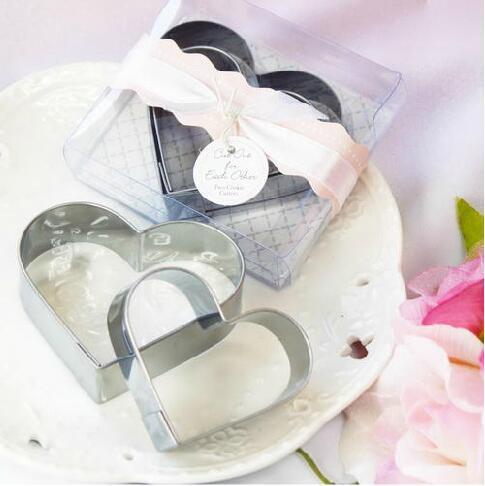 Acero inoxidable doble amor molde de pastel molde de pan cocina Hornear herramientas favor de la boda regalo decoración del partido