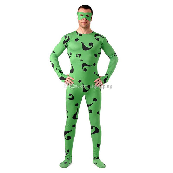 Black Question Mark Pattern Cosplay Costumes Halloween Green Lycra Spandex Full Body Zentai Suit