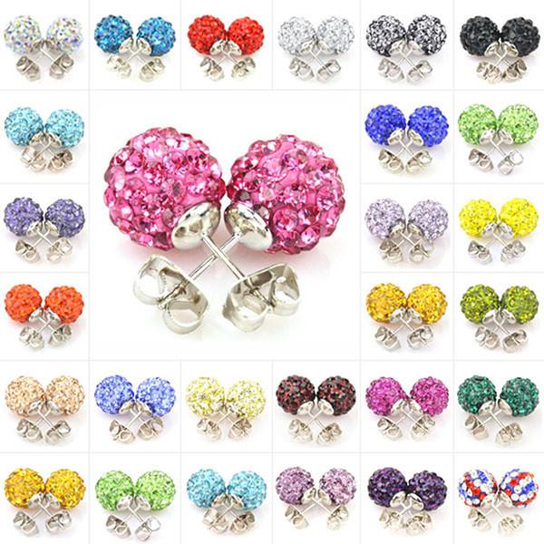 Boucles d'oreilles pour les femmes coréennes bijoux de mode Swarovski Crystal Copper Dangle Channel boucle d'oreille mariage pas cher 925 Sterling Silver Stud boucles d'oreilles