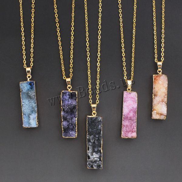 Wholesale- Women's Colorful Natural Stone Necklace Amethyst Pink Quartz Druzy Crystal Necklace Pendants Statement Necklaces Summer