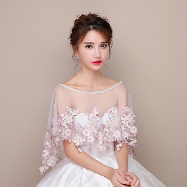 Fairy Bridal Boleros Pearl Pink Flowers Soft Ivory Tulle Wedding Accessories Bridal Wraps Cheap Free Shipping