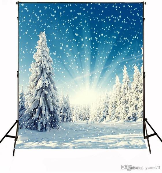Fondo del contesto dello studio di fotografia di luce del pino della neve di Natale del vinile di 5x7ft