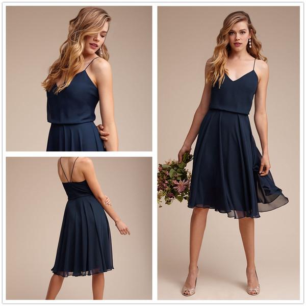 2017 New Spaghetti Straps Chiffon Short Bridesmaid Dresses Ruffles Knee Length A Line Prom Evening Gowns