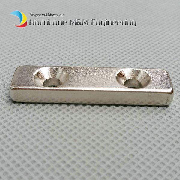 300pcs NdFeB Fix Magnet 40x10x5mm with 2 M5 Screw Countersunk Holes Block N42 Neodymium Rare Earth Permanent Magnet