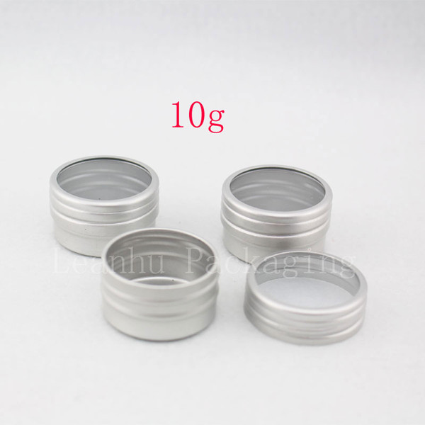 10g X 100 empty sample cream cosmetic Aluminum container with window screw lid, small lipstick Can ,lip balm jars / tin / pots