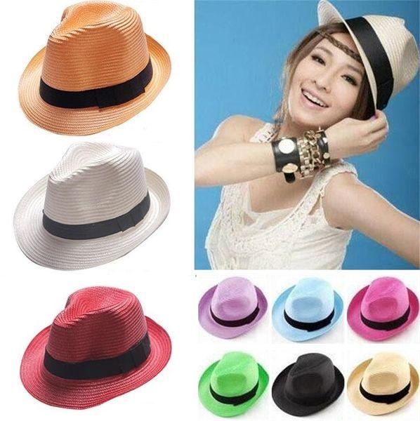 Wholesale-- Cheap Straw Hats Panama Sun Hats Protection 13 Colors Mixed Soft Stingy Brim Hats Free Ship C062