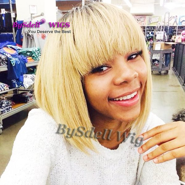 Natural cheap hair Dark rooted wig Perruque synthetic women short blonde high quality heat resistant curly Wigs With Bangs In Stock