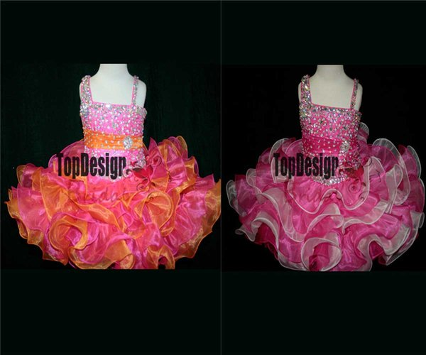 2017 WHOLESALE FESTIVE GIRLS LITTLE GIRL TWO TONED TODDLER PAGEANT GOWN CUPCAKE DRESSES INFANT TODDLER BIRTHDAY BALL GOWN SR275