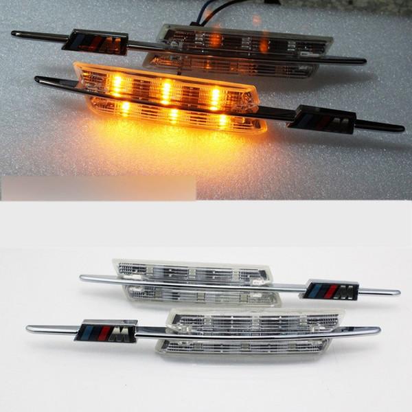 2 UNIDS / SET LED Fender Side Turn Signals lámpara de la puerta SIDE Marker Light 12V SMD3528 Kit de la bombilla para BMW E60 E61 E81 E82 E87 E88 E90 E91 E91 M Logo