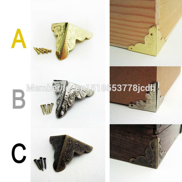 Al por mayor- 12pc decorativo de latón antiguo de oro plateado cofre de la joyería caja de vino caja de madera muebles de hierro protector de la esquina del metal protector de uñas