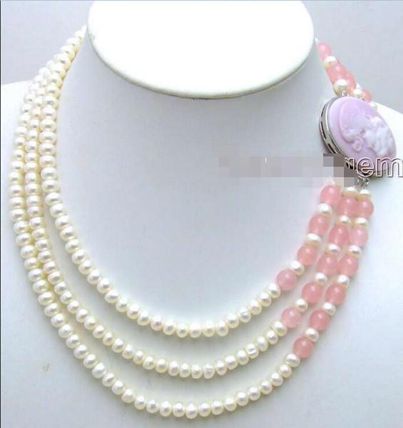 Spedizione gratuita *** VENDITA 6-7mm bianco naturale FW piatto perla 3 fili neckalce bellezza rosa Clasp-5199
