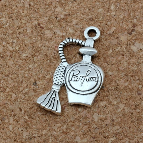 MIC 100pcs /1lot Antiqued Silver Zinc Alloy Single-sided design Perfume Bottle Charms 17x24mm DIY Jewelry