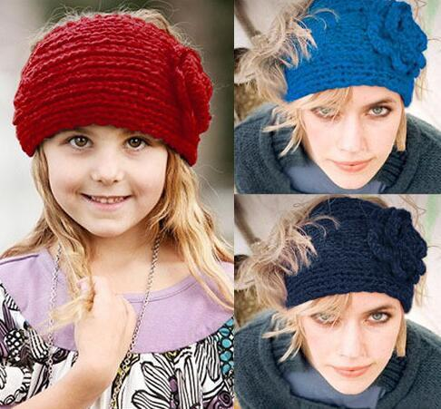 24 colors wholesale Price Women Fashion Wool Crochet Headband Headwrap Knit Hair band Flower Winter Ear Warmer DHL shipping