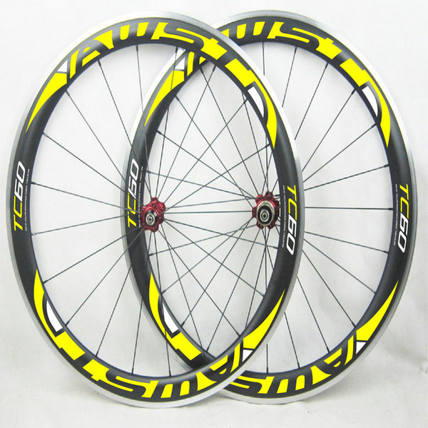 2018 Top sale TC 60mm road bicycle carbon wheels 3k glossy/matt clincher 700C yellow AWST decal wheels powerway R13 hubs wheelset