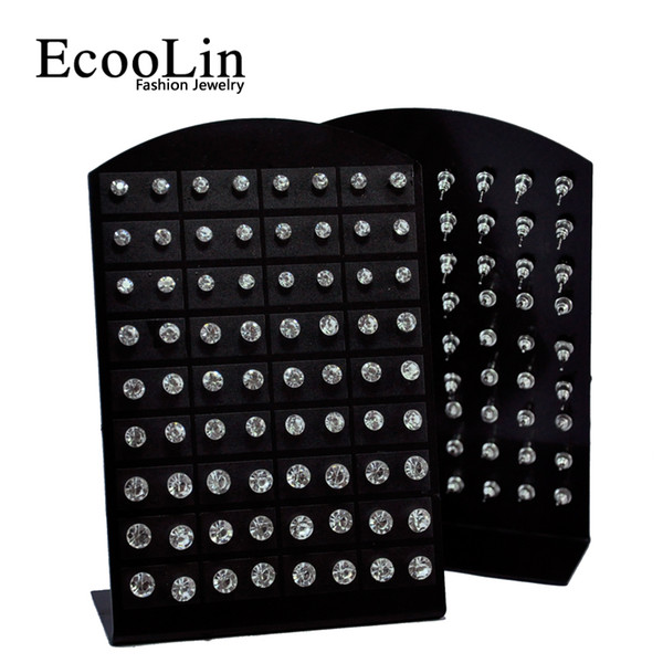 best selling 72pcs 1 Set Fashion Hot Rhinestone Zirconia Stainless Steel Stud Earring for Women Display Boards Wholesale Jewelry Lots LR285 Free Shipping