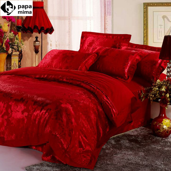 Wholesale Luxurious Red Bedding Set 4pc Wedding Satin Duvet Quilt Cover King  Queen Size Comforters