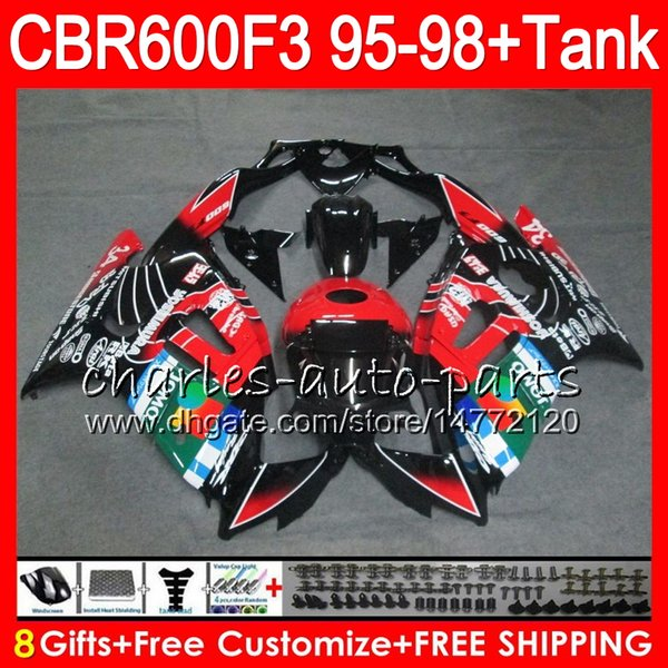 8 regalos JOMO negro 23 colores para HONDA CBR600F3 95 96 97 98 CBR600RR FS 2HM33 CBR600 F3 600F3 CBR 600 F3 1995 1996 1997 1998 blk rojo Fairing