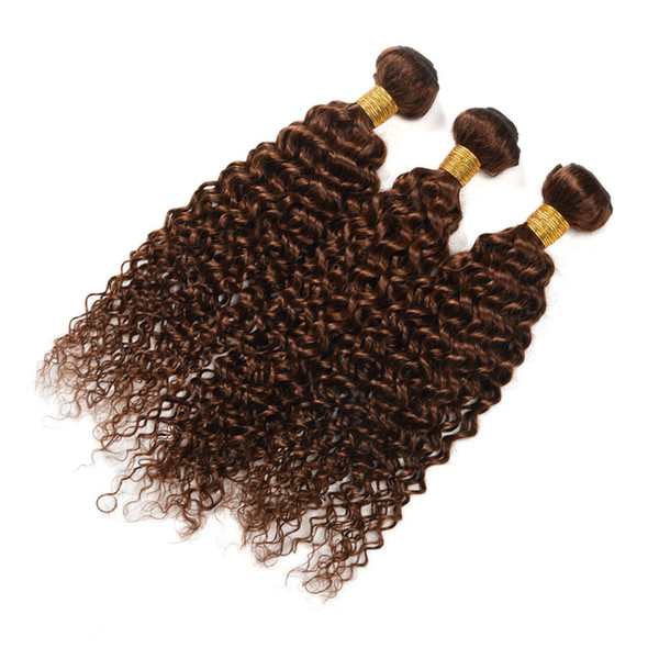 Dark Brown #4 Curly Hair Extension 3Pcs For Woman Indian Virgin Human Hair Weaves Kinky Curly Chocolate Brown Human Hair Weft