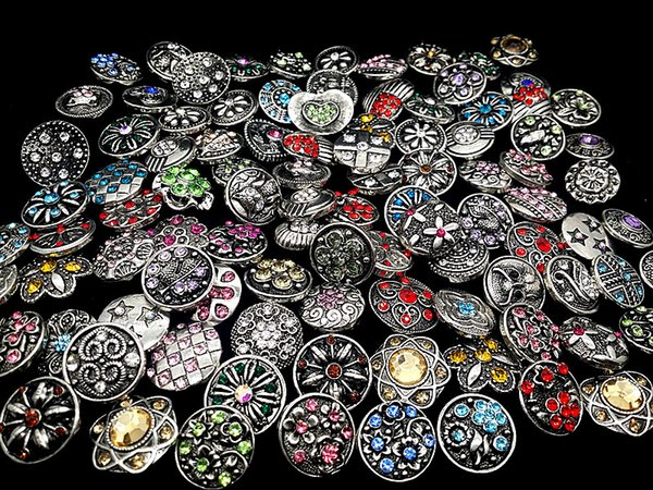best selling wholesale assorted mixed different styles vintage 18mm rhinestone ginger snap charms buttons DIY noosa Jewelry Accessories