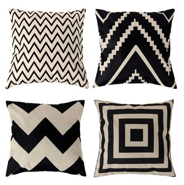 Home Print Pillowcase Decor Cushion Ripple Chevron Wave Linen Cotton Cushion Cover Home Decor Square Throw Pillow Case Pillowcase 2017