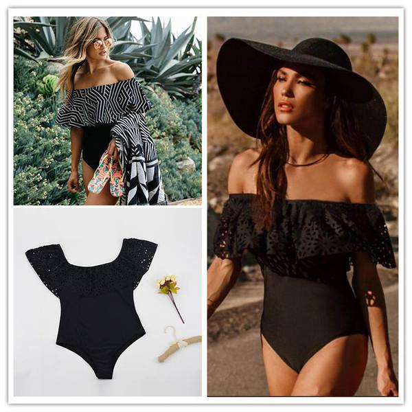 2017 New Sexy Off The Shoulder Solid Swimwear Women One Piece Swimsuit Female Bathing Suit Ruffle Monokini Swim Wear S-XL