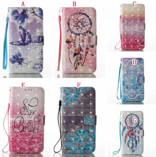 Dreamcatcher Papillon Portefeuille En Cuir Poche Pour Samsung Galaxy S8 Plus 2017 A3 A5 J7 J3 J5 S5 S6 S7 Bord Mandala Fleur Vache Couverture Cas 50 pcs
