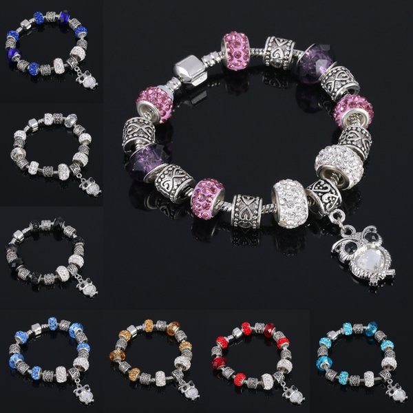 Mother Friendship Bracelet Mix Color Glass Bead Silver-tone Complete Charm Beaded Bracelet Jewelry Valentine Gift Free Shipping D270S