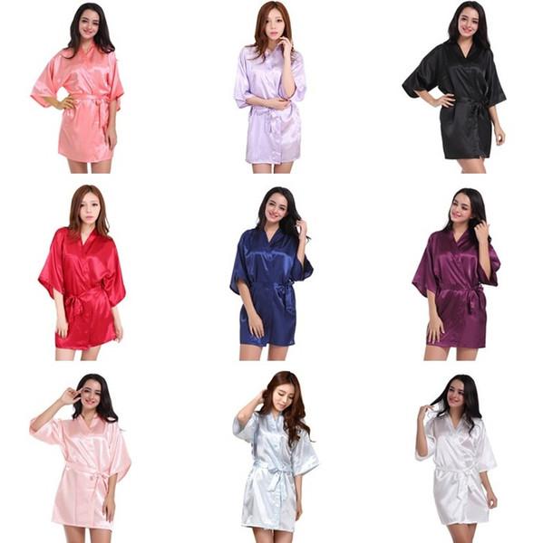 Kadın Ipek Saten Kısa Gece Katı Kimono Robe Moda Banyo Robe Seksi Bornoz Sabahlığı Femme Düğün Gelin Nedime Robe BC510
